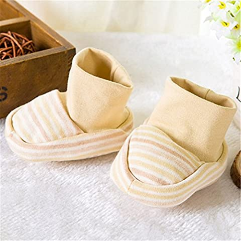 Interesting® Unisex lindo bebé recién nacido Stripe Anti Scratch suave transpirable Bootie caliente algodón