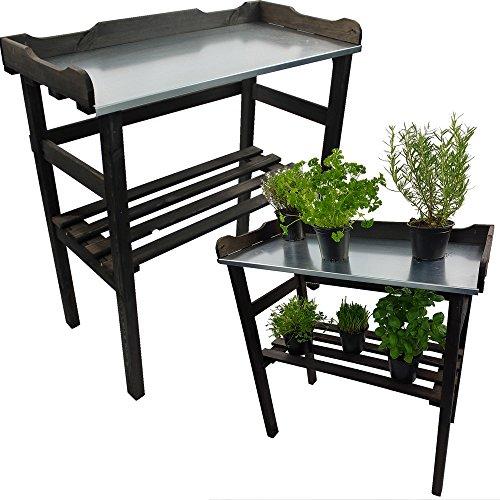 Pflanztisch / Gartentisch 82 x 78 x 38 cm FSC® zertifiziertes Holz imprägniert verzinkte Arbeitsfläche, Farbe:Anthrazit
