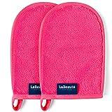 LaBeauté Make-Up Entferner-Handschuh (2 Stück), Gesichtsreinigung und Abschmink-Handschuh, waschbar und wiederverwendbar (20x13 cm, Pink)