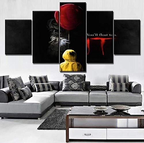 XZZZN Leinwanddrucke Home Dekorativ Clown Es Pennywise Scary Poster 5 Stück Wandkunst Filmplakat Modern Living Room (Größe A) Kein Rahmen