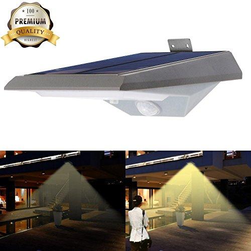 iThird Solarleuchte mit bewegungsmelder, 18 superhelle LEDs mit 2 Beleuchtungsmodus für Veranda, Treppen, Garten, Terrasse, Garagen, Eingang (Warmweiß)