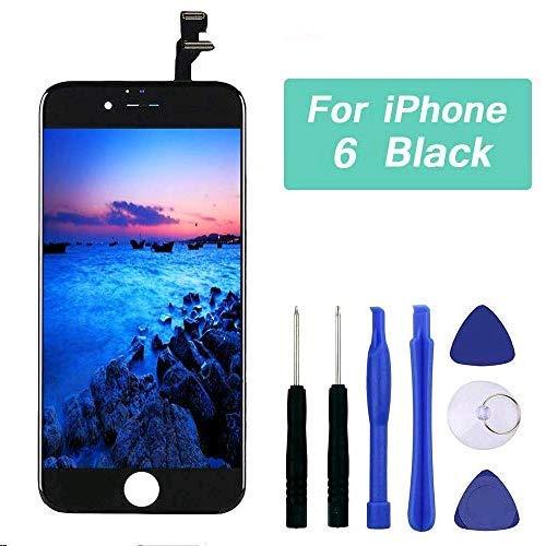 Q-EUU Kompatibel mit iPhone 6 Display Schwarz LCD Touchscreen Reparatur Bildschirm mit Komplettes Kostenlose Werkzeuge Lcd-schwarz