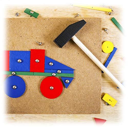 Relaxdays Hammerspiel für Kinder, Hämmerchen, viele Formen, kreatives Spielzeug, Holz Kinderspiel, ab 3 Jahren, bunt
