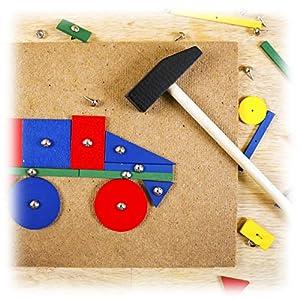 Relaxdays 10021989 Juego de Martillo para niños, Martillo, Muchas Formas, Juguete Creativo, Juguete de Madera, a Partir de 3 años, Multicolor