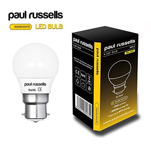5x-3w-golf-ball-led-light-bulb-b22-bc-bayonet-cap-paul-russells-very-bright-lamp-3w-25w-warm-white-g