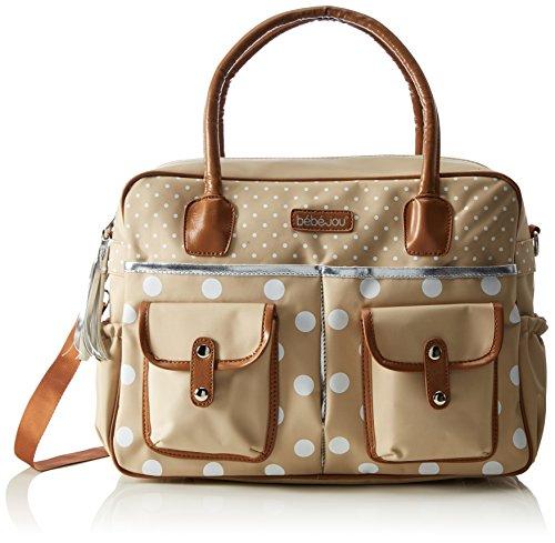 bebe-jou 310039 Wickeltasche in gepunktete Naturfarben und mit passender Wickelunterlage, beige