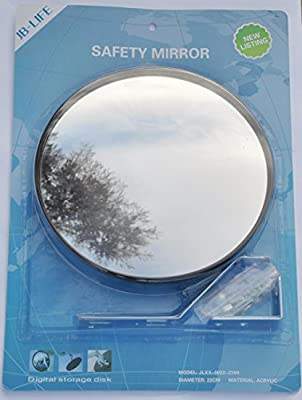 """JCM-22i Convex acrylic mirror, diameter 22cm (9""""), for parking safety and shop security with adjustable wall or ceiling fixing bracket - cheap UK light shop."""