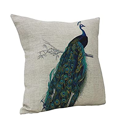 Nunubee Peacock Linen Blend Throw Pillow Case Home Decor Cushion Cover