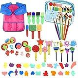 YZNlife - Juego de 52 brochas de pintura con esponja, para niños, incluye pinceles de espuma, juego de pinceles, delantal impermeable, etc.
