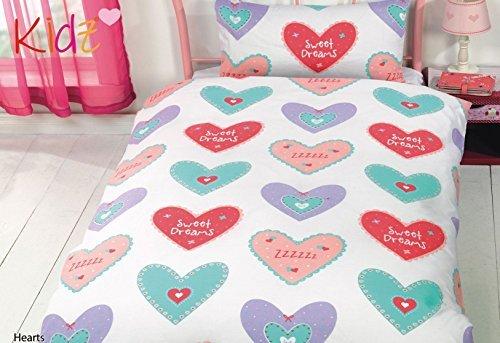 Hearts Süße Träume gepunktet Rosa Blau Rot Baumwollgemisch einzeln 5 Teile Bettwäsche Set