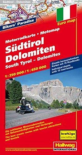 Preisvergleich Produktbild Südtirol-Dolomiten Motorradkarte 1 : 650.000: 15 Motorradtouren, Unterkünfte, Sehenswürdigkeiten (Hallwag Freizeitkarten)