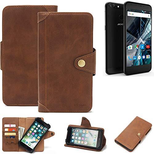 K-S-Trade Handy Hülle für Archos 55 Graphite Schutzhülle Walletcase Bookstyle Tasche Handyhülle Schutz Case Handytasche Wallet Flipcase Cover PU Braun (1x)