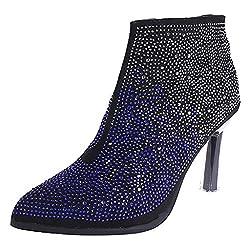 Maleya Stiefeletten Damen Mode Party Boots Elegant Kristall Dekoration Kurze Stiefel Klassische Feiner Absatz Ankle Boots Vintage Reißverschluss Kurze Stiefeletten Pointed Toe Winterstiefel