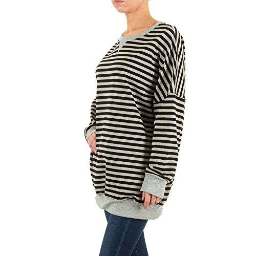 Damen Sweatshirt, ÜBERGRÖßEN SWEATSHIRT, KL-T11190 Schwarz