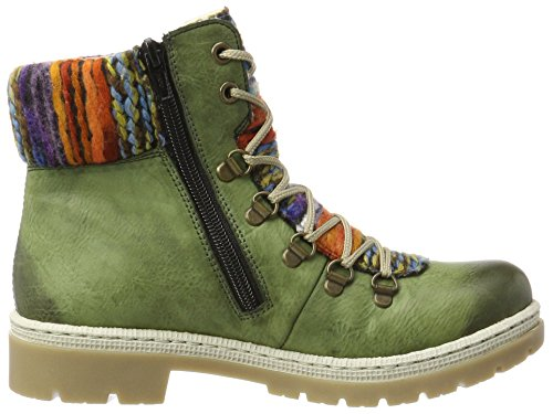 Rieker Ladies Y9432 Boots Green (leaf / Orange-multi)