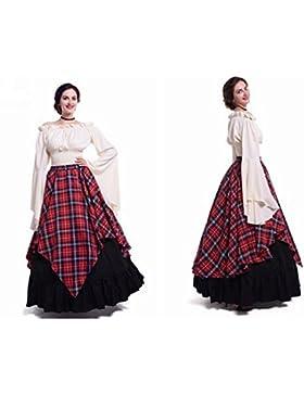PW Vestidos largos de manga larga para mujer Disfraces medievales renacentistas , 4 , M