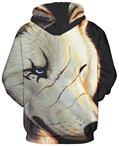 Bettydom Herren Unisex Casual mit 3D Aufdruck Fantasie Motiv Sweatshirt Kapuzenpullover Hoodies Langarm Top Streetwear Shirt weiße Wolf