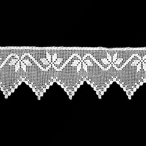 Handgehäkelte Spitze nach Maß Landhausspitze Häkelband Borte Handarbeit Meterware 21 cm Höhe 100% Baumwolle Weiß