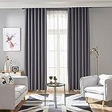 Globeagle moderne Verdunkelungsvorhänge für Fenster, Jalousien, Fertiggardinen fürs Wohnzimmer, Polyester, grau, 100x200 cm/39.37x78.74 in