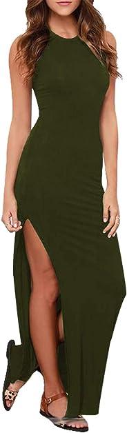 فستان LaSuiveur النسائي بدون أكمام عالي الشق Bodycon صيفي للشاطئ