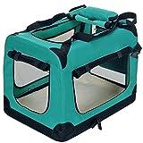 PetViolet Transportbox für Haustiere Hunde Katzen, Faltbar, 60x42x42 cm, Grün