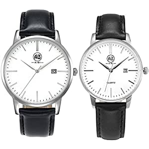 AIBI Waterproof Black Leather Classy Quartz Watches Set For Couple Lovers(Set of 2)