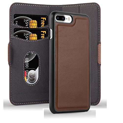 Apple iPhone 8 PLUS / 7 PLUS / 7S PLUS Hülle in BRAUN von Cadorabo - Handy-Hülle im 2-in-1 Design mit mit herausnehmbarem Hard Cover , unsichtbarem Magnet-Verschluss , Standfunktion und Karten-Fach fü ANTIK-BRAUN