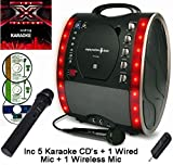 X Factor Karaoke CD Version - Portable Karaoke Machine & CD Player - Classic 343 PARTY PACK 3 (CORDLESS MIC) - Home Disco Party Light – Girls / Boys Karaoke microphone + 86 Karaoke SONGS (5 CD ' S) CDG + Format (Connect to a TV to display lyrics from CD) - Echo - Auto Voice Control + AUX IN: Connect MP3 player, iPhone, iPod, Mobile Phone / Smart Phone eg: Samsung Galaxy, Sony Xperia, etc (use as a speaker) by The Singing Machine (Party Pack 3 (5 CDs - 1 Wireless Mic + 1 Wired Mic), Black)