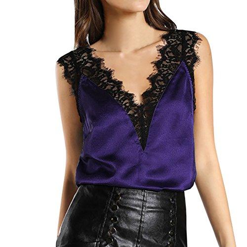 Qmber Damen Mode ärmellose Sommer Quasten Baumwolle Mode Tops Shirt Bluse Oberteile Tee Lässig Lace Vest Top Casual Halter Top/Lila,L -