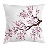 Abakuhaus japanisch Kissenbezug, Sakura Branch Blüten, 50 x 50 cm, Beidseitiges Muster Klarer Digitaldruck Farbfes mit verstäckten Reißverschluss, Rosa Dunkelbraun