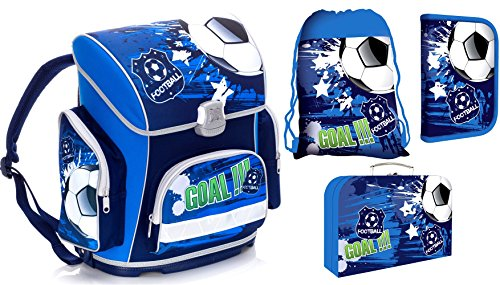FUSSBALL Schulranzen Jungen 1 Klasse Tornister Schulrucksack Schultasche SET 4 teilig für Grundschule super leicht ergonomisch und anatomisch !