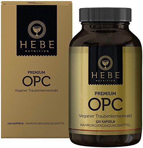 OPC Traubenkernextrakt Hochdosiert Kapseln, extrahiert in Frankreich aus französischen Trauben und auf 95{f5e318dff55fc0e59608d78f5c57b46760e483346091d937901818e3c6722df5} OPC-Gehalt standardisiert, keine Zusatzstoffe, vegan, Premium-Qualität von Hebe Nutrition