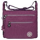 EGOGO Messenger Umhängetasche Umhängetasche mit Reißverschlusstaschen (Lila)