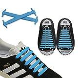 JANIRO Elastische Silikon Schnürsenkel – flexibler Schuhbänder Ersatz ohne Binden - Kinder & Erwachsene - 20 Stück - Blau