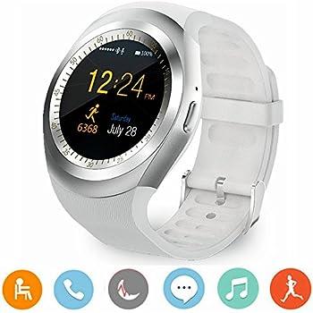 CanMixs Reloj inteligente Smart Watch Android Y1 con ranura para tarjeta SIM, pulsera de actividad inteligente para teléfonos inteligentes Iia Smart de ...