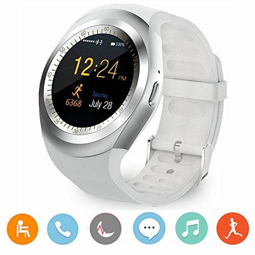 Reloj inteligente CanMixs Y1 Bluetooth Smart Watch Tarjeta Micro SIM con Pantalla Táctil Redonda, podómetro, monitoreo de sueño, mensaje, calendario, llamada y recordatorio sedentario para iPhone, Android, Samsung, Huawei, MI, HTC(blanco)