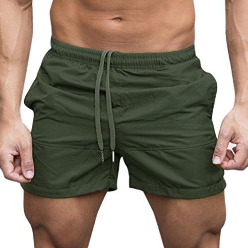 Men's Pants Moonuy Confortable Hommes Gym Casual Sports Jogging Élastique Taille Pantalon Shorts d'été pour Hommes Convient pour Casual, Sport, Plage Vêtements de Sport(L, Armée Verte)