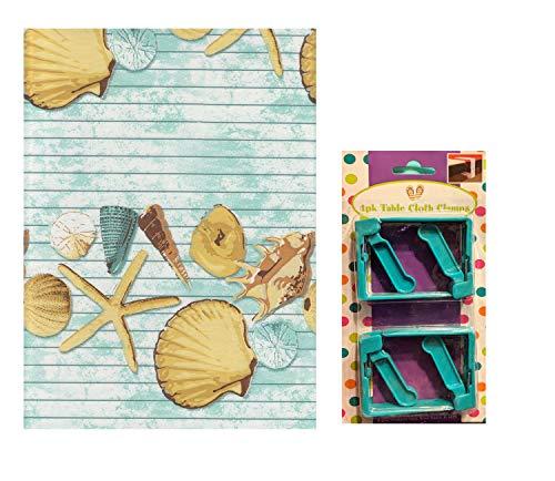 Vinyl-Tischdecke mit Muschel-Motiv, Unterseite aus Flanell, 60 x 102 cm, rechteckig, plus 4 federbelastete Clips zur Sicherung der Tischdecke für den Außenbereich 60 x 102 inches Light Blue Clamps (X 102 60 Tischdecke Vinyl)