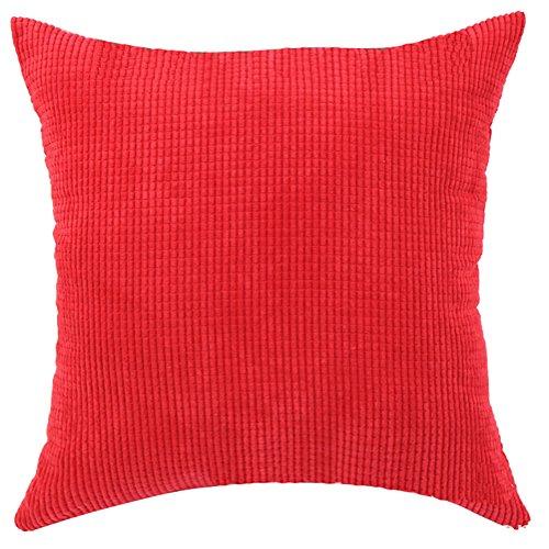 Fodera per cuscino quadrato/rettangolo solido Pinkycolor ChezMax coperta plaid in velluto a coste Cuscino Custodia SHAM Slipover Pillowslip Federa per la casa divano letto sedia sedile posteriore, Red, 26*26''WITHOUT FILLER