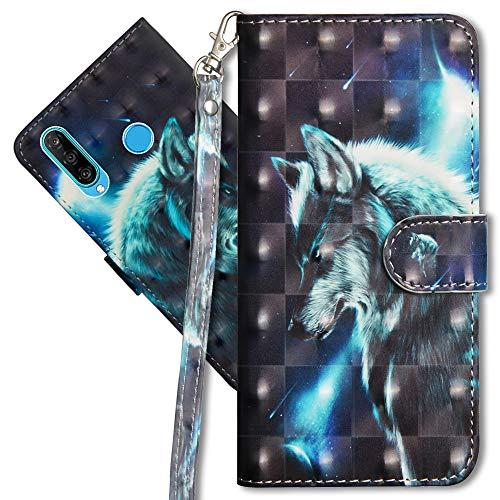 MRSTER Huawei P30 Lite Handytasche, Leder Schutzhülle Brieftasche Hülle Flip Case 3D Muster Cover mit Kartenfach Magnet Tasche Handyhüllen für Huawei P30 Lite. YX 3D - Wolf