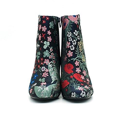 Donna floreale Stivaletti il nuovo, Tubo basso stivale di gomma fine slittata indossare impermeabile, Assorbimento degli urti, lato cerniera accogliente Stivali femminili flower