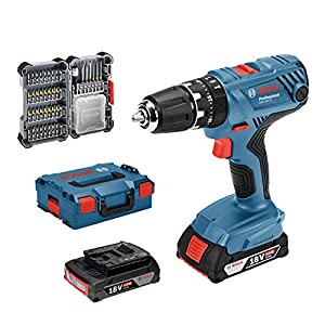 51g0k9RsquL. SS300  - Bosch Professional GSB 18V-21 System Taladro percutor, Incl batería de 2 x 2.0 Ah, Juego de Accesorios de 40 Piezas, en L-BOXX 136, Amazon Edición, 36 W, 18 V, Azul