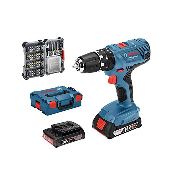 Bosch Professional GSB 18V-21 Taladro percutor, 2 baterías x 2,0 Ah, máximo perforación 10 mm, set 40 puntas, 36 W, 18 V, en maletín, Edición Amazon, Azul