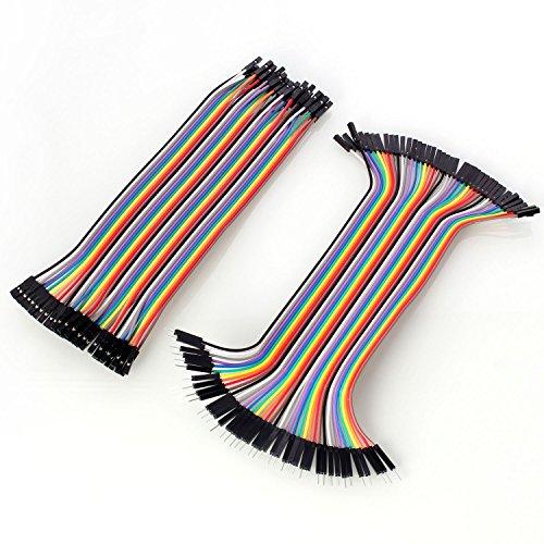 Neuftech 40x 20cm Female Female Male Female Jumper Wire Kabel Steckbrücken Drahtbrücken für Arduino Raspberry pi -