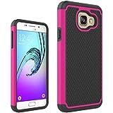 Étui Samsung Galaxy A3(2016)A310, Résistant Aux Impacts Armure Bouclier Shield Coque Rigide Housse 2en1 Combinaison Balle Modèle pour Samsung Galaxy A3(2016)A310 (Hot pink)