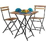 Relaxdays Conjunto de muebles de jardín, madera natural, 3 piezas, plegable, set bistro, mesa 76 x 60 x 60 cm, colores naturales
