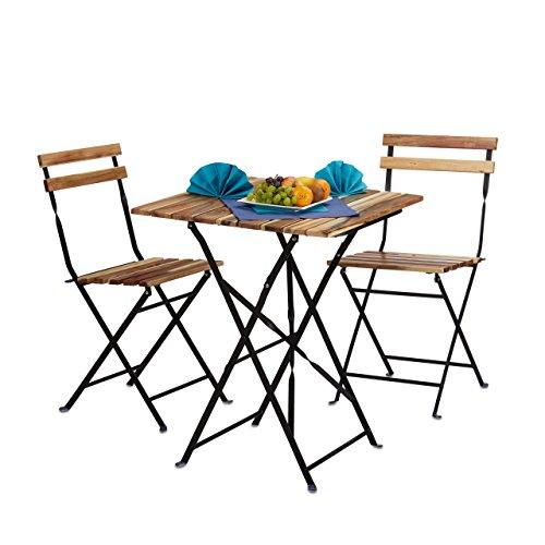 Relaxdays 10020682 set mobili da giardino per esterno da 3 pezzi, marrone, 60x60x76 cm
