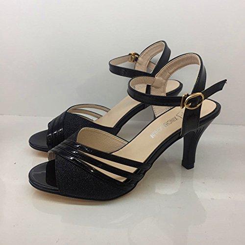 LGK&FA Sandali Con Tacco Elegante E Sottile Scarpe A Tacco 39 Gold 39 black