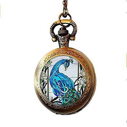 Blauer Pfauen-Taschenuhr, Halskette, blauer Pfauenschmuck, handgefertigt, Vintage-Glaskunst, Foto-Schmuck