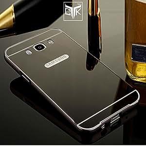 TheGiftKart™ Ultra Premium Luxury Metal Bumper Acrylic Mirror Back Cover (Graphite Grey) for Samsung Galaxy On8
